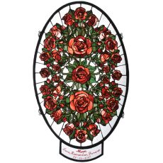"22.5"" W X 38"" H Personalized Oval Rose Garden Stained Glass Window"