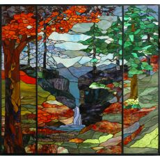 "46.5"" W X 49"" H Tiffany River Of Life Stained Glass Window"
