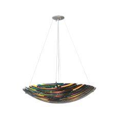 "30"" W Penna Di Pavone Fused Glass Inverted Pendant"