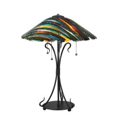 """24"""" H Penna di Pavone Fused Glass Table Lamp"""