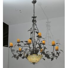 "63"" W Diamond & Jewel Oak Leaf 9 Arm Chandelier"