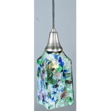 "4"" Sq Metro Fusion Fiddleheads Draped Glass Mini Pendant"