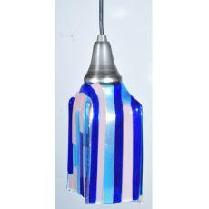"4"" Sq Metro Fusion Ocean Breeze Draped Glass Mini Pendant"
