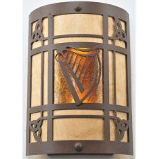 "9"" W Celtic Harp Wall Sconce"
