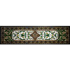 "45.5"" W X 10.5"" H Versaille Transom Stained Glass Window"