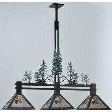 """46"""" L Winter Pine Tall Pines 3 Lt Island Pendant"""