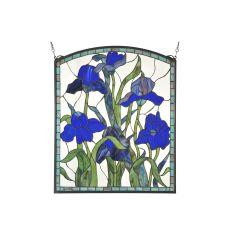 "24"" W X 28.75"" H Iris Arched Stained Glass Window"
