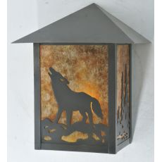 """9"""" W Seneca Northwoods Wolf On The Loose Wall Sconce"""