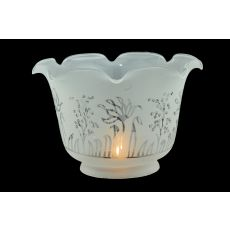 "8"" W X 5"" H Revival Ruffle Frosted Etched Shade"