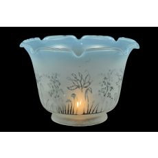 "8"" W X 5"" H Revival Ruffle Frost & Blue Etched Shade"