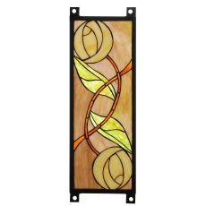 """6.75"""" W X 17.675"""" H Mackintosh Rose Stained Glass Window"""