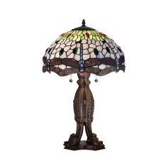 """24.5"""" H Tiffany Hanginghead Dragonfly Table Lamp"""