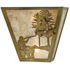 "13"" W Quail Hunter W/Dog Wall Sconce"