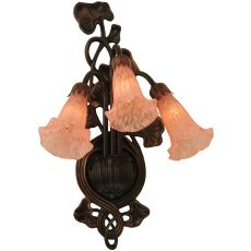 "10.5"" W Pink Pond Lily 3 Lt Wall Sconce"