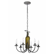 "18"" W Tuscan Vineyard 6 Lt Wine Bottle Chandelier"