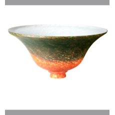 "10.5"" W Red/Green Pate-De-Verre Bell Shade"