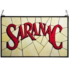 """28"""" W X 17"""" H Saranac Stained Glass Window"""