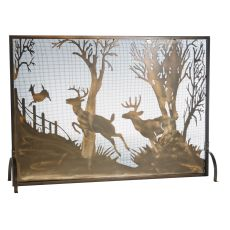 """44"""" W X 31.5"""" H Deer On The Loose Fireplace Screen"""
