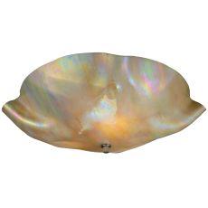 "16"" W Metro Beige Iridescent Organic Art Glass Flushmount"