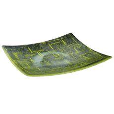 "14"" Sq Metro Fusion Lemon Glass Plate"