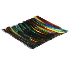 """13"""" Sq Metro Fusion Penna Di Pavone Glass Plate"""