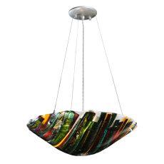 """18"""" W Metro Fusion Penna Di Pavone Glass Inverted Pendant"""