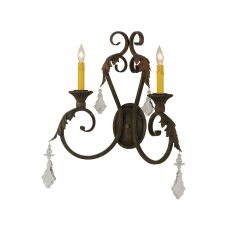 """19"""" W Josephine 2 Lt W/Crystals Wall Sconce"""