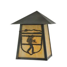 "9"" W Lake Clear Lodge Hiker Wall Sconce"