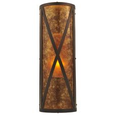 """7"""" W Amber Mica Diamond Mission Wall Sconce"""