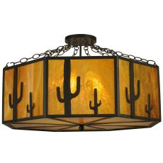 "31"" W Southwest Cactus Semi-Flushmount"