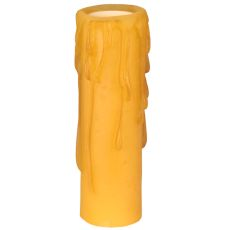 "1.25"" W X 4"" H Poly Resin Honey Amber Flat Top Candle Cover"