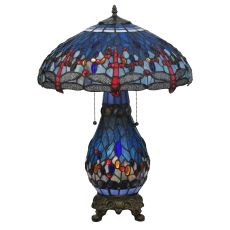 """25.5"""" H Tiffany Hanginghead Dragonfly Lighted Base Table Lamp"""