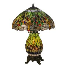 """25"""" H Tiffany Hanginghead Dragonfly Lighted Base Table Lamp"""
