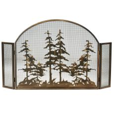"""50"""" W X 30"""" H Tall Pines Arched Fireplace Screen"""