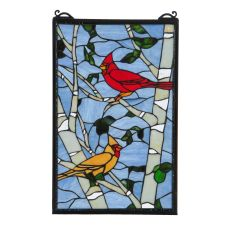 "13"" W X 10"" H Cardinals Morning Stained Glass Window"