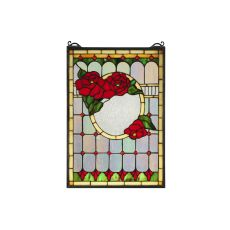 """14"""" W X 20"""" H Morgan Rose Stained Glass Window"""
