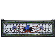 """33"""" W X 10"""" H Fairytale Transom Stained Glass Window"""