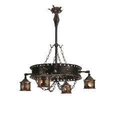"""40"""" W Antique Gothic 4 Lantern Chandelier"""