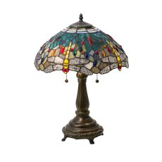 """22"""" H Tiffany Hanginghead Dragonfly Table Lamp"""