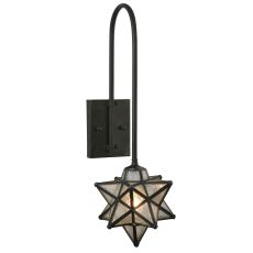 """9"""" W Moravian Star Clear Seeded Curved Arm Wall Sconce"""