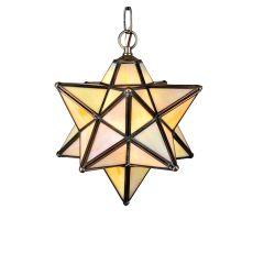 "9"" W Moravian Star Beige Iridescent Mini Pendant"