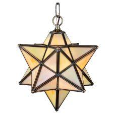"12"" W Moravian Star Beige Iridescent Pendant"