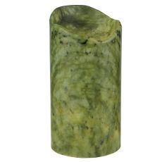 """4"""" W X 8"""" H Cylinder Jadestone Green Uneven Top Candle Cover"""