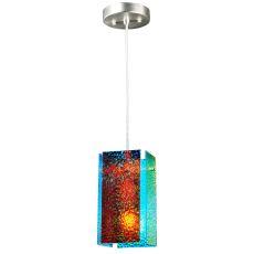 """7"""" W Metro Fusion Fire And Ice Granite Quadrato Mini Pendant"""