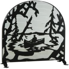 "35"" W X 34.5"" H Canoe At Lake Arched Fireplace Screen"