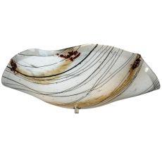 "19"" W Organic Slumped Ramoscelli Fused Glass Flushmount"
