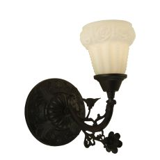 "7"" W White Puffy Rose Wall Sconce"