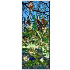 """24.25"""" W X 59.5"""" H Woodland Lilypond Stained Glass Window"""