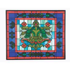 "23.5"" W X 19.8"" H Victorian Flourish Stained Glass Window"