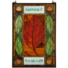 "21"" W X 31"" H Personalized Harvest Festival Stained Glass Window"